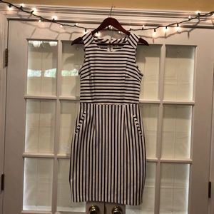 Navy and white striped, sheath style midi dress